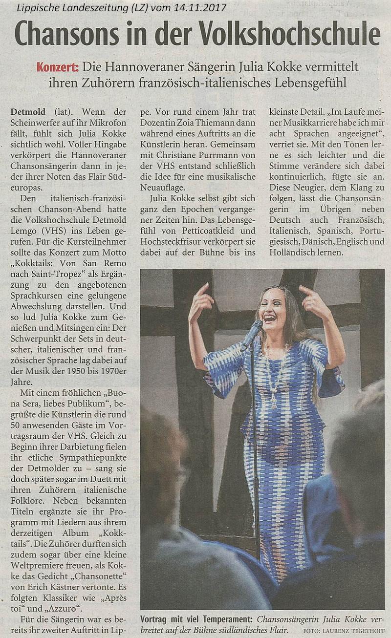 Konzert Julia Kokke Detmold Lippische Landeszeitung