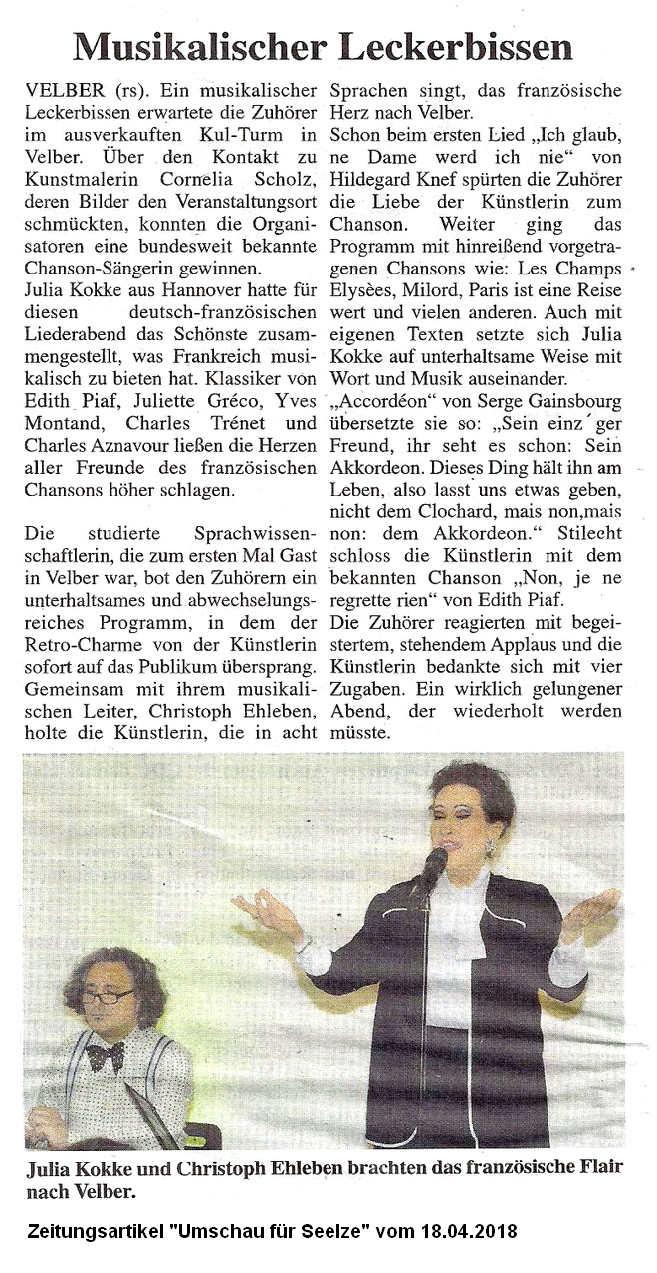 Zeitungsartikel Umschau 18-04-2018 Julia Kokke Chansons